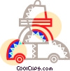 Vector Clip Art graphic  of a Family car on vacation