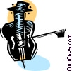 Vector Clipart graphic  of a Cello and bow