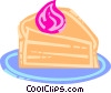 Piece of cake with whipped cream Vector Clip Art graphic