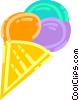 Three flavored ice cream con Vector Clipart illustration