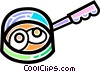 Vector Clip Art graphic  of a Frying pan with eggs cooking
