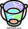Vector Clip Art graphic  of a Colorful bucket