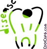 Vector Clipart picture  of a Tooth with Disease message