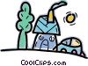 Vector Clip Art graphic  of a House and family car with tree