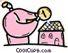 Vector Clipart graphic  of a Man putting money into house