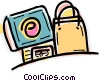 Shopping bag and credit card Vector Clip Art graphic