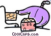 Vector Clip Art picture  of a Person house shopping