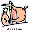 Vector Clip Art graphic  of a Man measuring his money