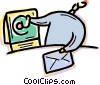 Vector Clip Art image  of a Man receiving e-mail