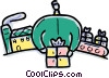 Vector Clip Art picture  of a Factory making presents