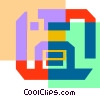 Vector Clipart graphic  of a Colorful thick line diskette