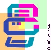 Colorful thick line fax machine Vector Clipart graphic