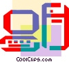 Colorful thick line work computer and monitor Vector Clip Art graphic