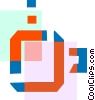 Vector Clipart illustration  of a Colorful thick line watch