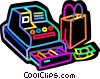 Vector Clipart illustration  of a Cash register and shopping bag