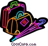 Suitcases and umbrella Vector Clipart graphic