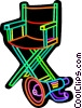 Vector Clip Art graphic  of a Directors chair and megaphone