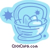 Easter basket with Easter eggs Vector Clipart graphic