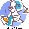 Chef with pot and soup ladle Vector Clipart illustration