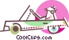 Vector Clipart illustration  of a Person driving convertible car