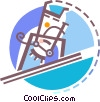 Vector Clipart image  of a Man pole vaulting