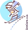 Person down hill skiing Vector Clip Art picture