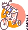 Vector Clip Art graphic  of a Man on his bike