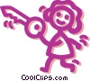 Vector Clipart picture  of a Girl with key
