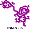Vector Clip Art image  of a Girl flying a kite