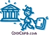 Vector Clip Art graphic  of a businessman on his way to the