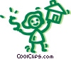 Vector Clipart image  of a Woman buying a house