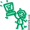 Vector Clipart picture  of a Woman on-line shopping