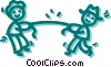 Man and woman having tug of war Vector Clip Art picture