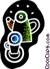 Vector Clipart image  of a Coffee pot and coffee mug
