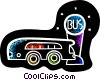 Vector Clip Art picture  of a Public bus at stop
