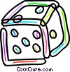 Colorful dice Vector Clip Art graphic
