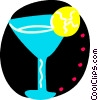 Mixed drink with lemon slice Vector Clipart illustration