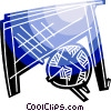Soccer ball and net Vector Clipart illustration