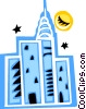 Vector Clip Art image  of a City skyline at night