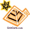 Vector Clip Art image  of a Great Pyramids with the sun