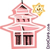 Vector Clip Art image  of a Pagoda Temple