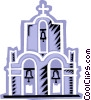 Vector Clipart graphic  of a Church with three bells