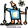 Vector Clip Art image  of a Down hill skier