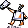 Vector Clip Art image  of a Postman Mailman