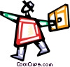 Vector Clipart graphic  of a Happy businessman walking to