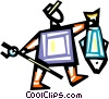 Fisherman with his catch Vector Clip Art picture