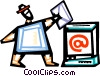 Man sending an e-mail Vector Clipart illustration