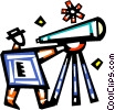 Vector Clip Art image  of a Man looking through telescope