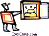 Vector Clip Art graphic  of a Man opening safe with gold