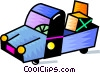 Vector Clip Art graphic  of a Pick up truck with supplies